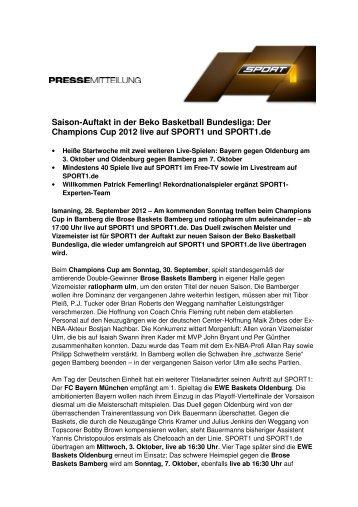 Saison-Auftakt in der Beko Basketball Bundesliga: Der ... - Sport1