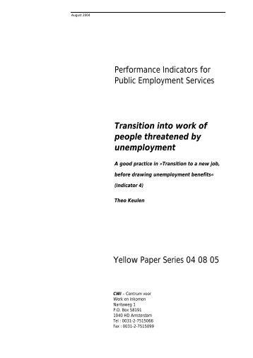 Performance Indicators for Public Employment Services Transition ...