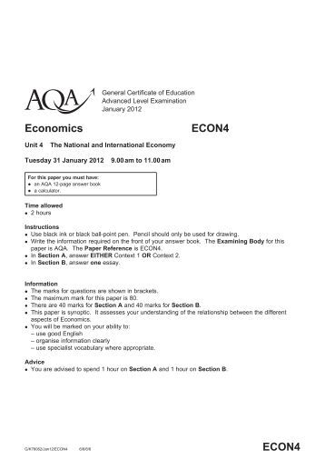 aqa econ2 7 determinants of short 7–9 marks 2 • includes one or more issues that are relevant to the question   short-run and long-run consequences • exchange rate changes.