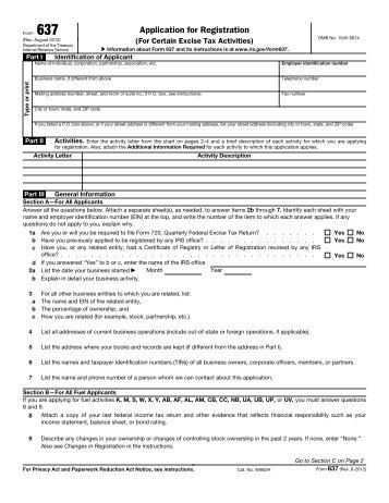 Irs Form 637 Form 637 Application For Registration For Certain ...