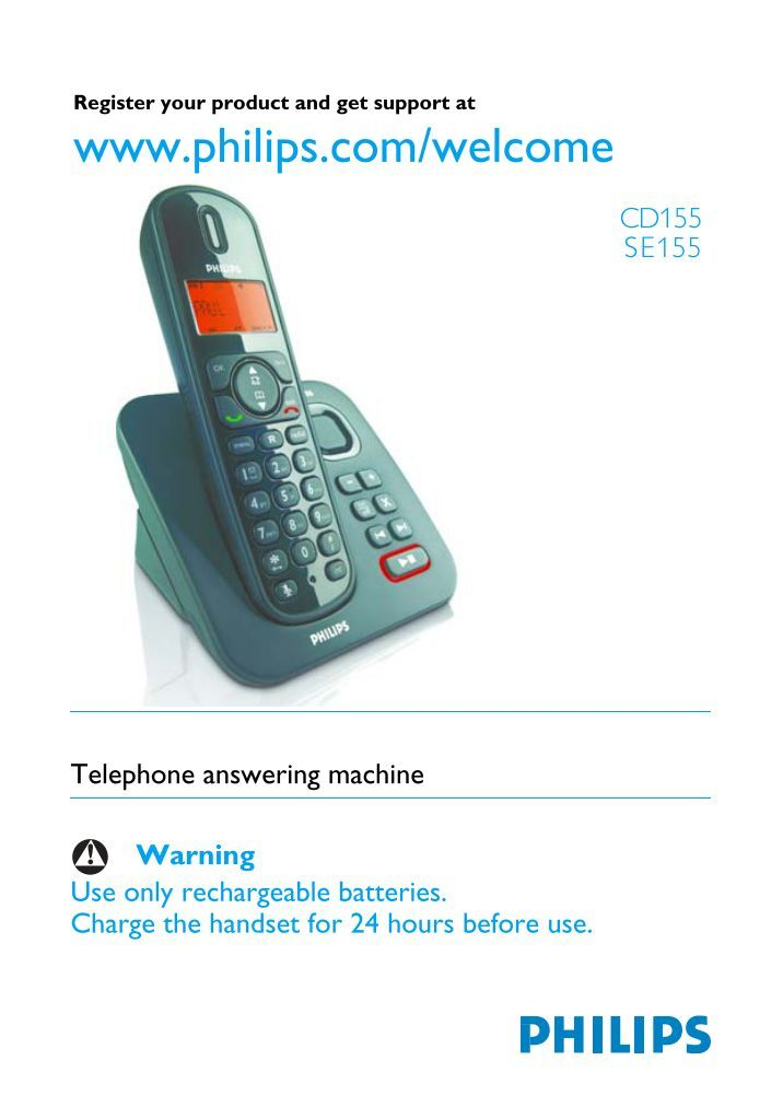 Philips cd1801b cordless telephone dect