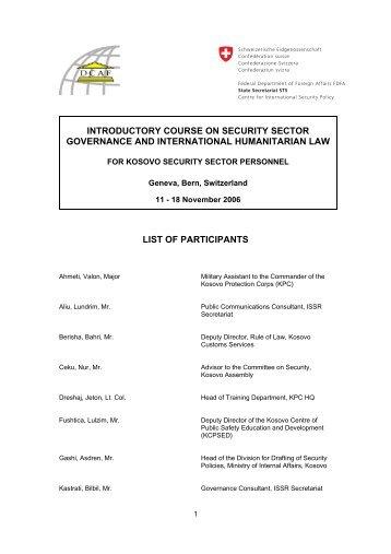 Participants list - DCAF