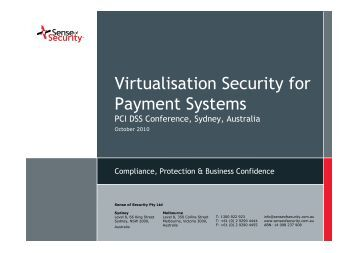 Virtualisation Security for Payment Systems - Sense of Security