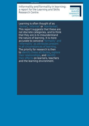 Informality and formality in learning: a report for the Learning and ...