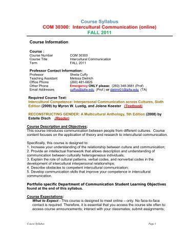Course Syllabus - IPFW.edu