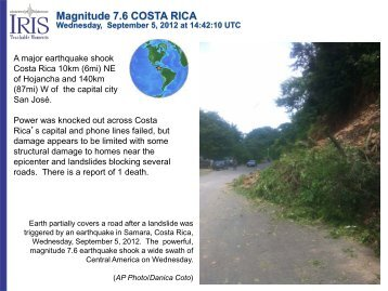 Magnitude 7.6 COSTA RICA Wednesday, September 5, 2012 ... - IRIS