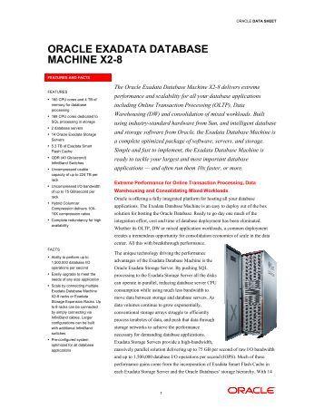 Oracle Exadata Database Machine X2-8 Data Sheet