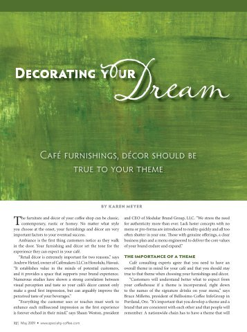 The furniture and décor of your coffee shop can ... - Cafemakers, LLC