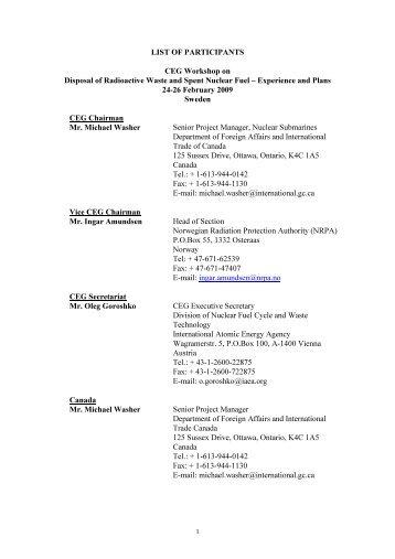 List of participants - IAEA