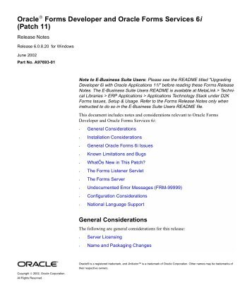 Oracle Forms Developer and Oracle Forms Services 6i (Patch 11)