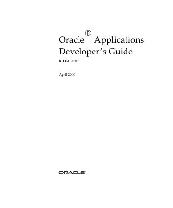 Oracle Applications Developer's Guide