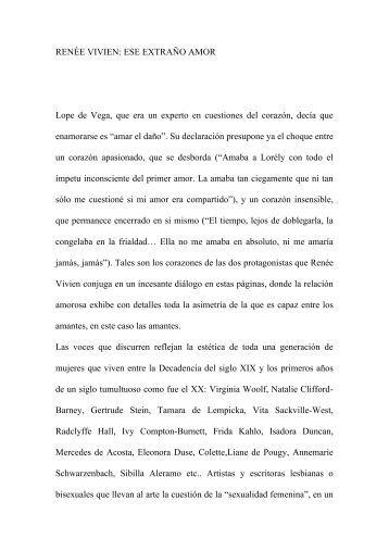 RENÉE VIVIEN: ESE EXTRAÑO AMOR Lope de Vega, que era un ...