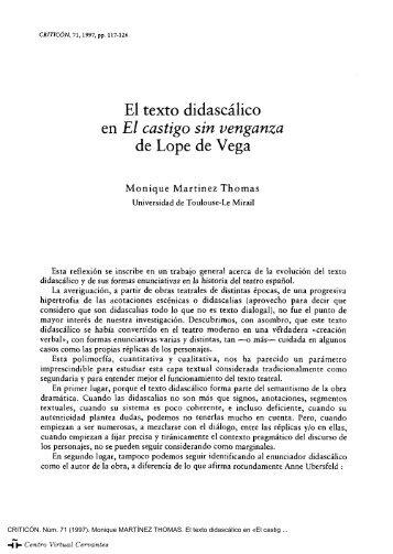 El texto didascálico en «El castigo sin venganza» de Lope de Vega