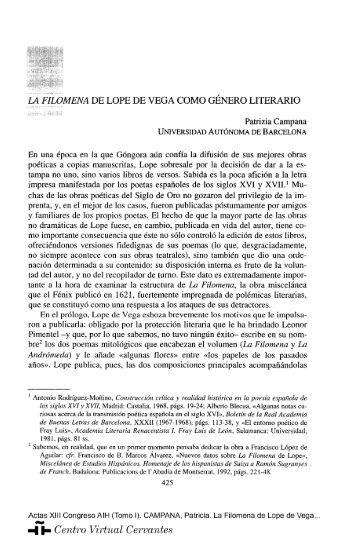 La Filomena de Lope de Vega como género literario