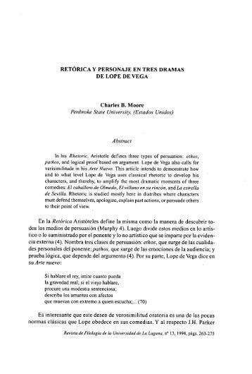 RETÓRICA Y PERSONAJE EN TRES DRAMAS DE LOPE DE VEGA ...