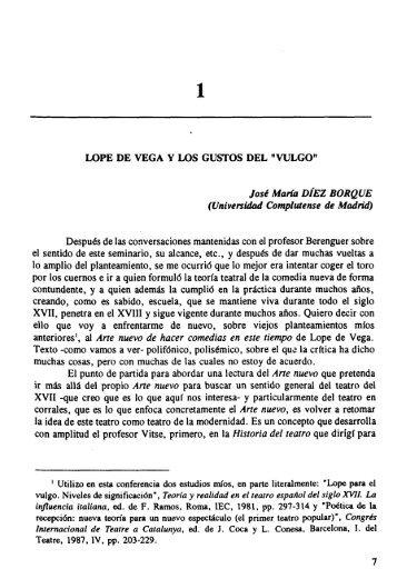 Lope de Vega y los Gustos del Vulgo
