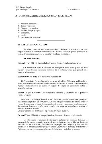 ESTUDIO DE FUENTE OVEJUNA DE LOPE DE VEGA