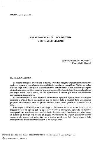 «Fuenteovejuna» de Lope de Vega y el maquiavelismo