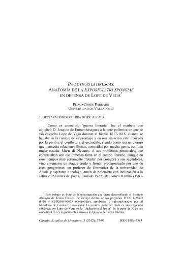 LA EXPOSTULATIO SPONGIAE EN DEFENSA DE LOPE DE VEGA