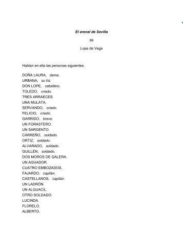 El arenal de Sevilla de Lope de Vega Hablan en ella las personas ...