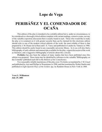 Lope de Vega PERIBÁÑEZ Y EL COMENDADOR DE OCAÑA