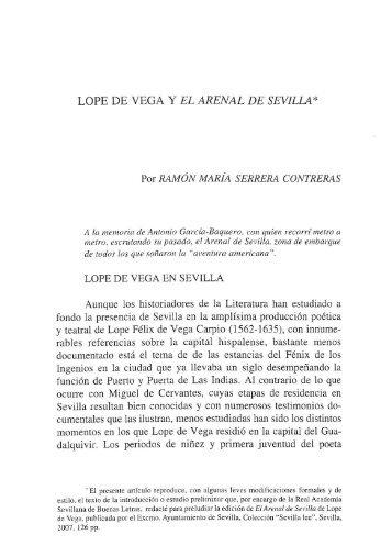 LOPE DE VEGA Y EL ARENAL DE SEVILLA*