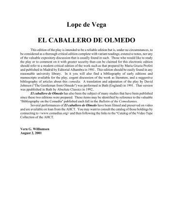 Lope de Vega EL CABALLERO DE OLMEDO