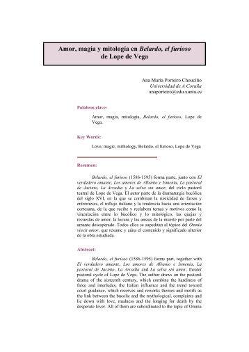 Amor, magia y mitología en Belardo, el furioso de Lope de Vega