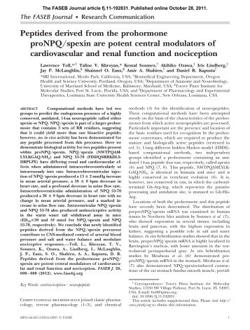Peptides derived from the prohormone proNPQ/spexin are potent ...
