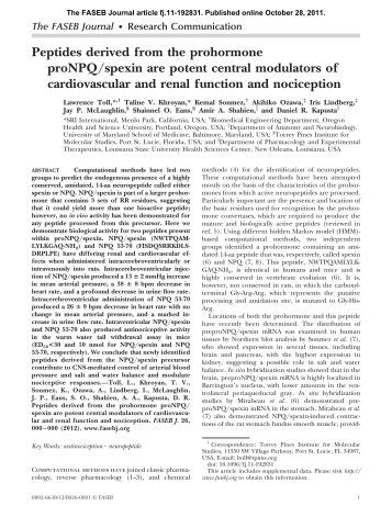 Peptides derived from the prohormone proNPQ/spexin are potent ...