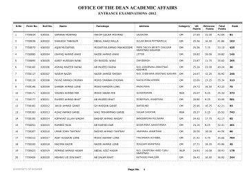 OFFICE OF THE DEAN ACADEMIC AFFAIRS - University of Kashmir