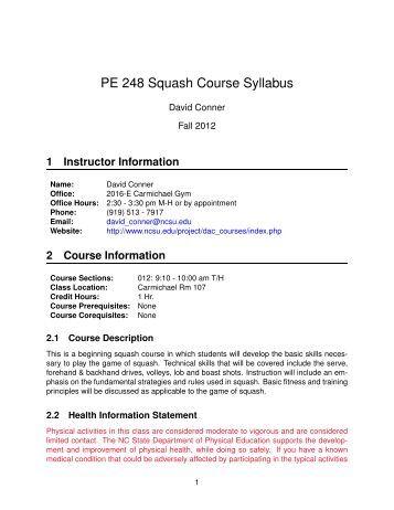 PE 248 Squash Course Syllabus