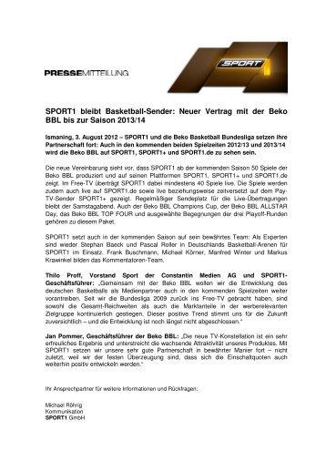 SPORT1 bleibt Basketball-Sender: Neuer Vertrag mit der Beko BBL ...