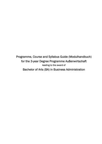 Programme, Course and Syllabus Guide (Modulhandbuch) for the 3 ...