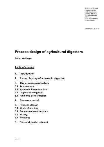 Process design of agricultural digesters - nifty