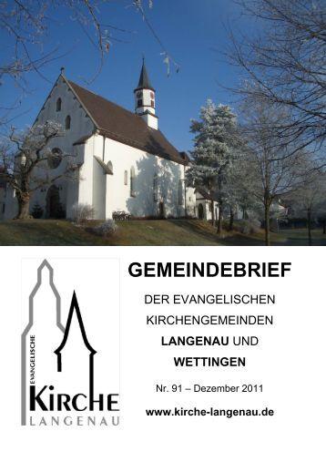 Gemeindebrief Nr. 91 - Evangelische Kirchengemeinde
