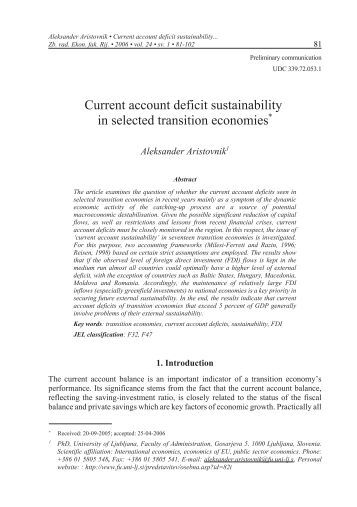 account current deficit sustainability thesis A financial perspective on the uk current account deficit data would be required in order to provide a comprehensive assessment of external sustainability keywords: current account, financial globalisation, international investment income jel classifications: e01, f20, f40, f62.