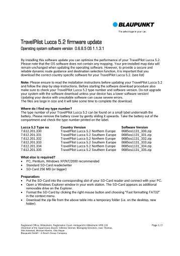 TravelPilot Lucca 5.2 firmware update - Blaupunkt