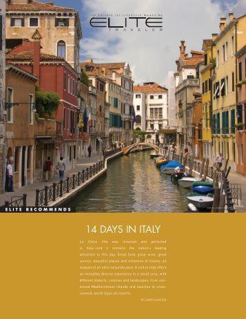 14 DAYS IN ITALY - Elite Traveler