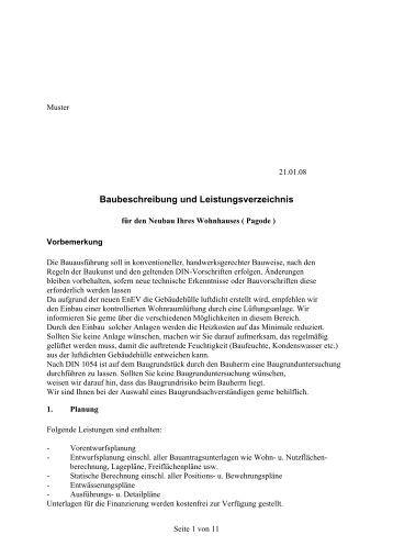 Baubeschreibung und Leistungsverzeichnis - Fepa