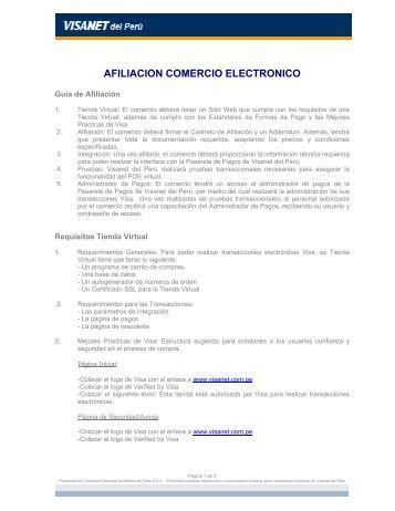 AFILIACION COMERCIO ELECTRONICO - Visa