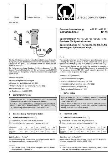 LEYBOLD DIDACTIC GMBH Gebrauchsanweisung 451 011-451 ...