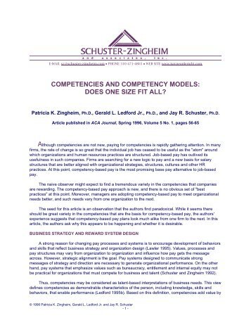 competencies and competency models - Schuster-Zingheim and ...