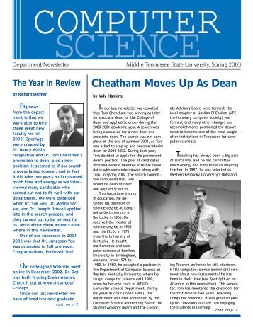 Cheatham Moves Up As Dean - Middle Tennessee State University