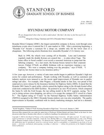 HYUNDAI MOTOR COMPANY - Stanford GSB - Stanford University