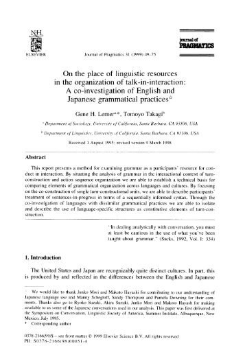 On the place of linguistic resources in the organization of talk-in ...