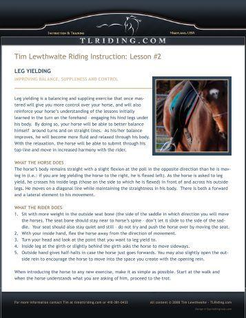 Lesson #2 - Tim Lewthwaite Riding Instruction & Training