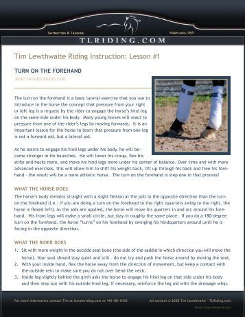 Turn on the Forehand - Tim Lewthwaite Riding Instruction & Training