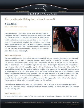 Lesson #4 - Tim Lewthwaite Riding Instruction & Training