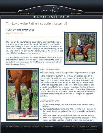 Lesson #3 - Tim Lewthwaite Riding Instruction & Training